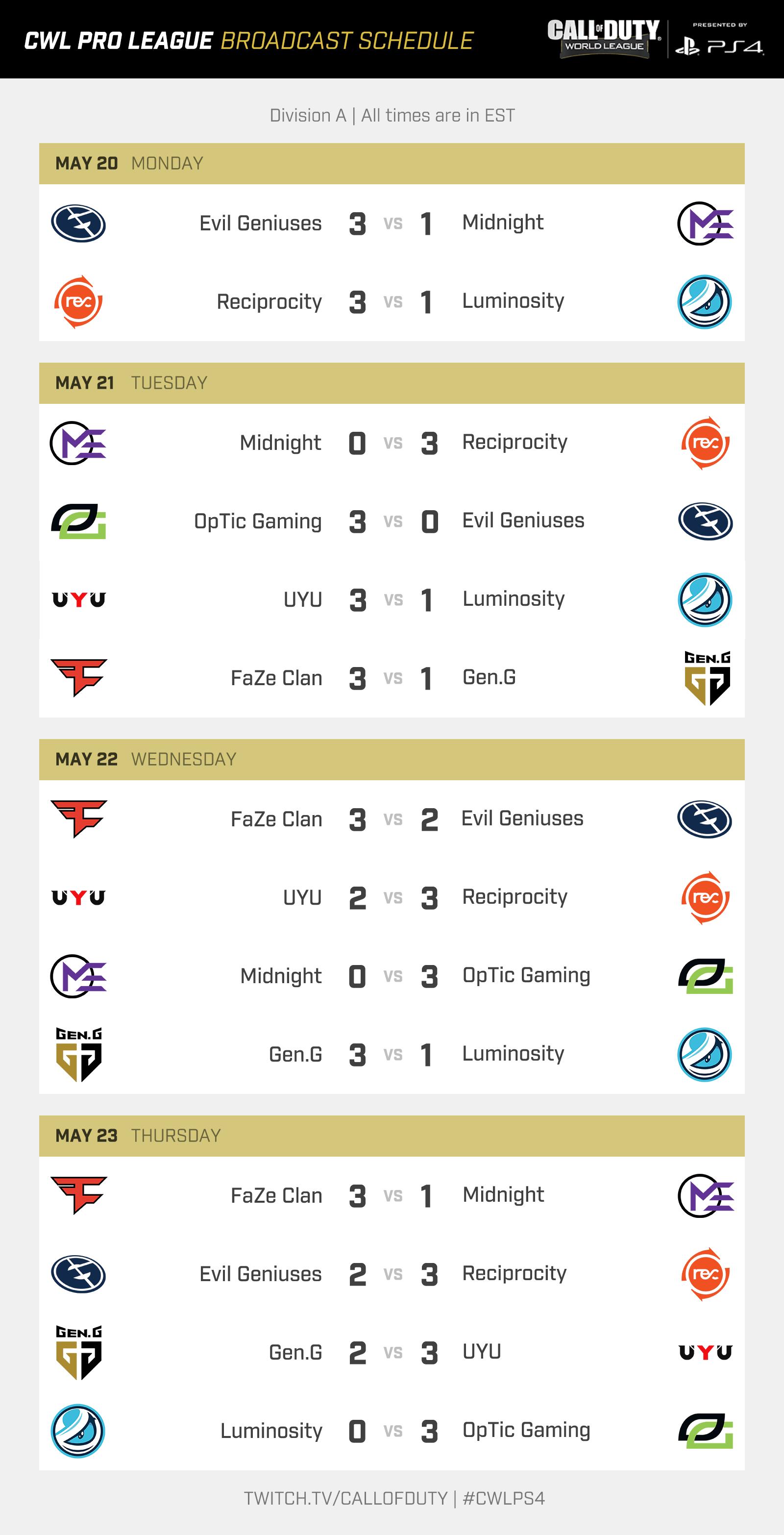 CWL Pro League 2019 Season Schedule Revealed