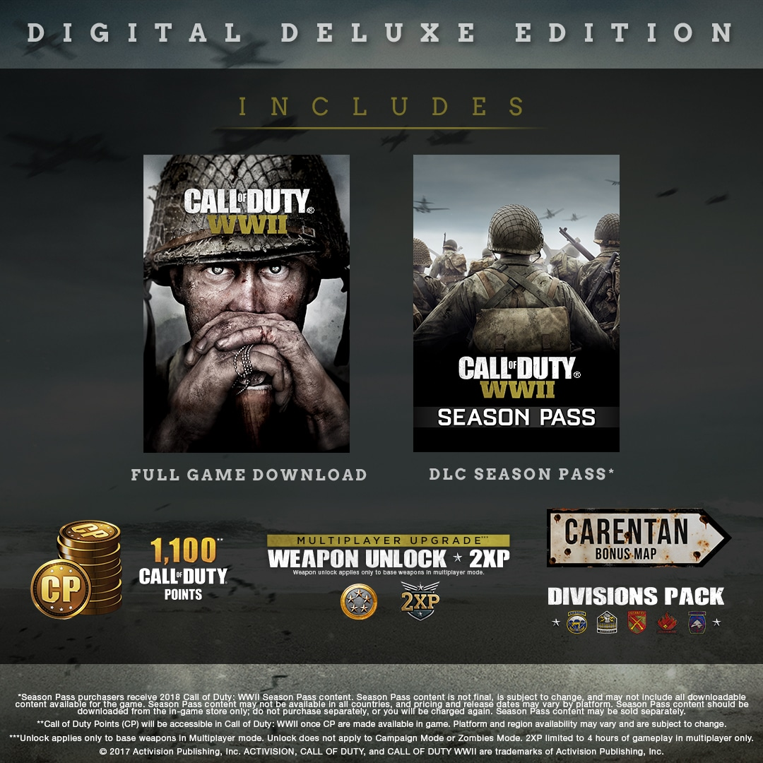 call of duty ww2 digital deluxe content